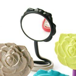 make up spiegel zwart/ champagne bloem