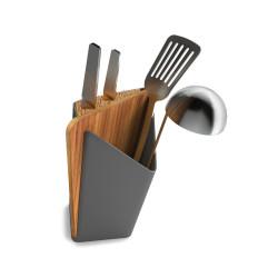 houder voor keukengerei en messen met snijplank grijs