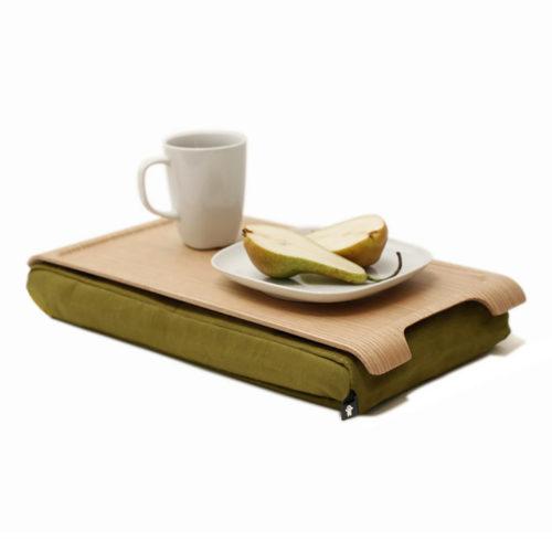 Bosign mini laptray - dienblad met kussen naturel/ olijfgroen