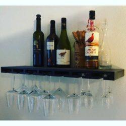 Glass bar plank voor wijnglazen en flessen zwart gebeitst