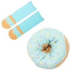 sokken Donut aqua met regenboog sprinkles