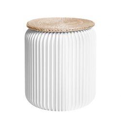opvouwbare kruk wit met rieten zitje 35 cm Stooly